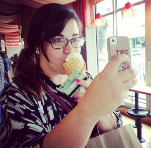 Epiphora took this cute photo of me taking a photo of myself and my iced creeeam.