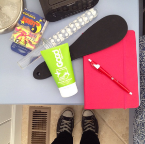 Moving in for me includes the Buckinator Glow, my journal, a paddle, lube, and earplugs. Because reasons.